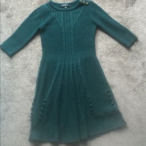 Forest-colored sweater dress
